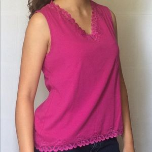 Hot Pink Shirt with Lace Detailing